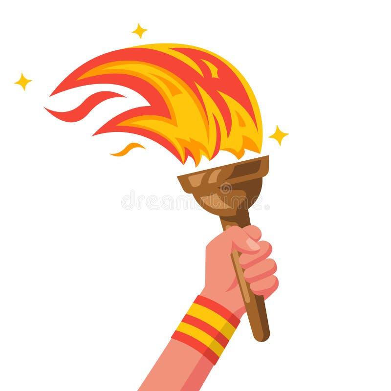 Рука с факелом пылать Вектор победы концепции спорт иллюстрация штока