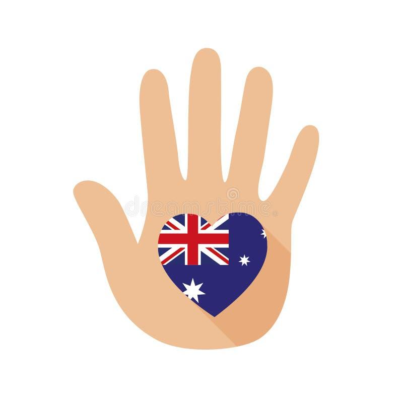 Рука с формой сердца и флагом Австралии зацепляет икону иллюстрация штока