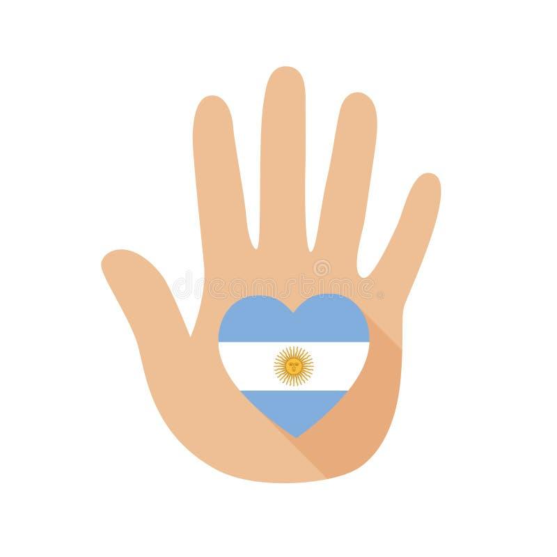 Рука с формой сердца и флагом Аргентины зацепляет икону иллюстрация штока