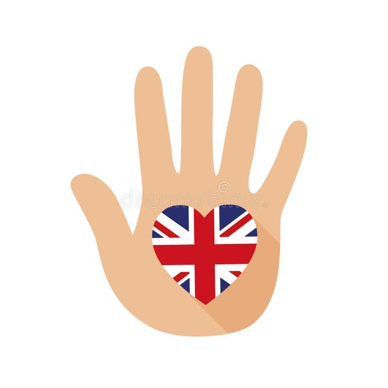 Рука с формой сердца и флагом Британии зацепляет икону иллюстрация вектора