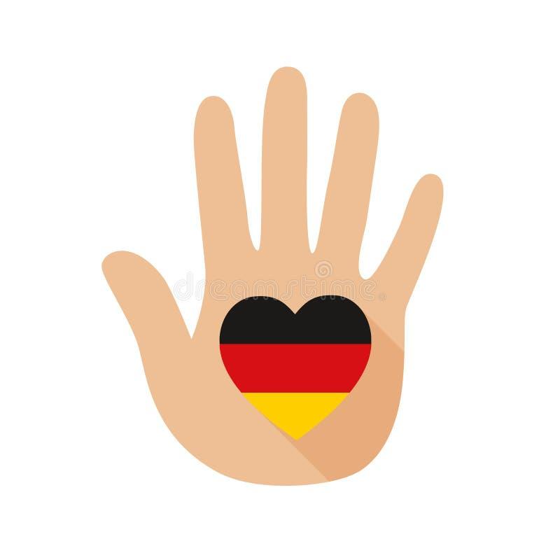 Рука с формой сердца и флагом Германии зацепляет икону иллюстрация штока