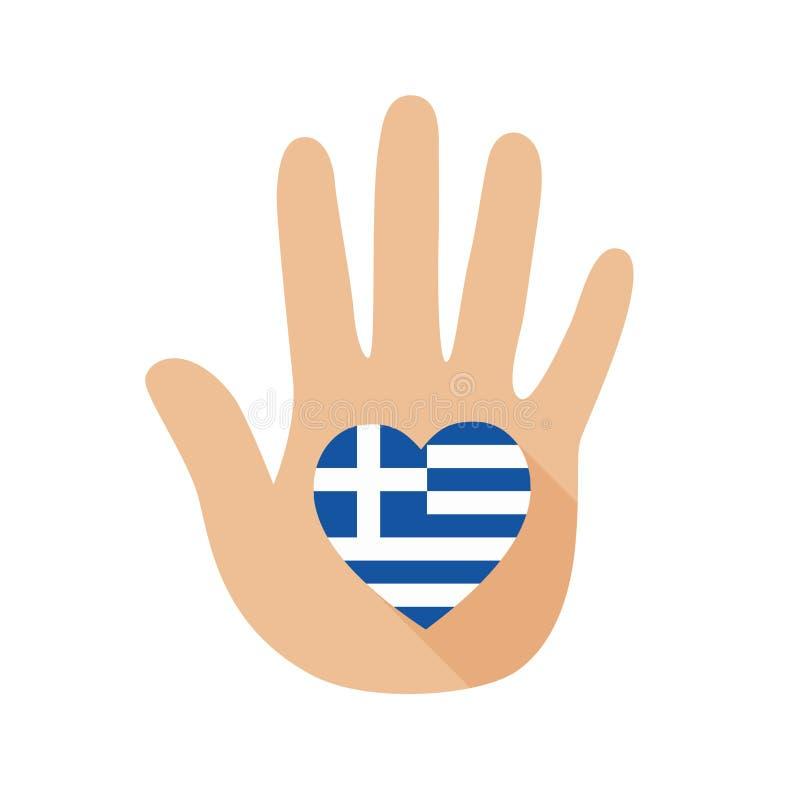 Рука с формой сердца и флагом Греции зацепляет икону иллюстрация вектора