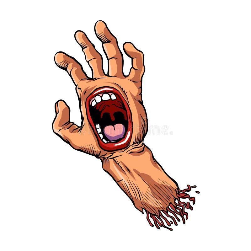 Рука с шаржем рта иллюстрация штока