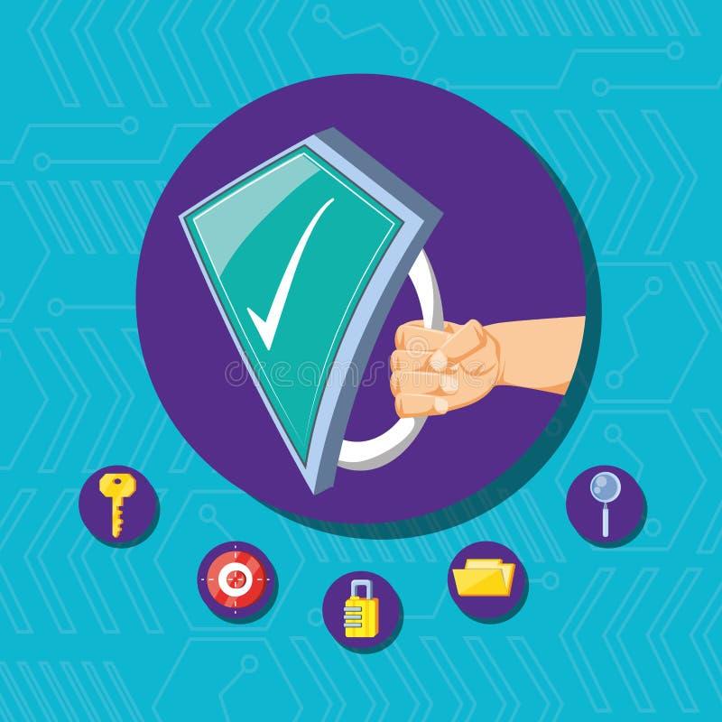 Рука с экраном и установленной безопасностью кибер значков бесплатная иллюстрация
