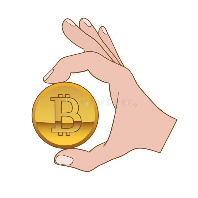 Рука с bitcoin иллюстрация вектора