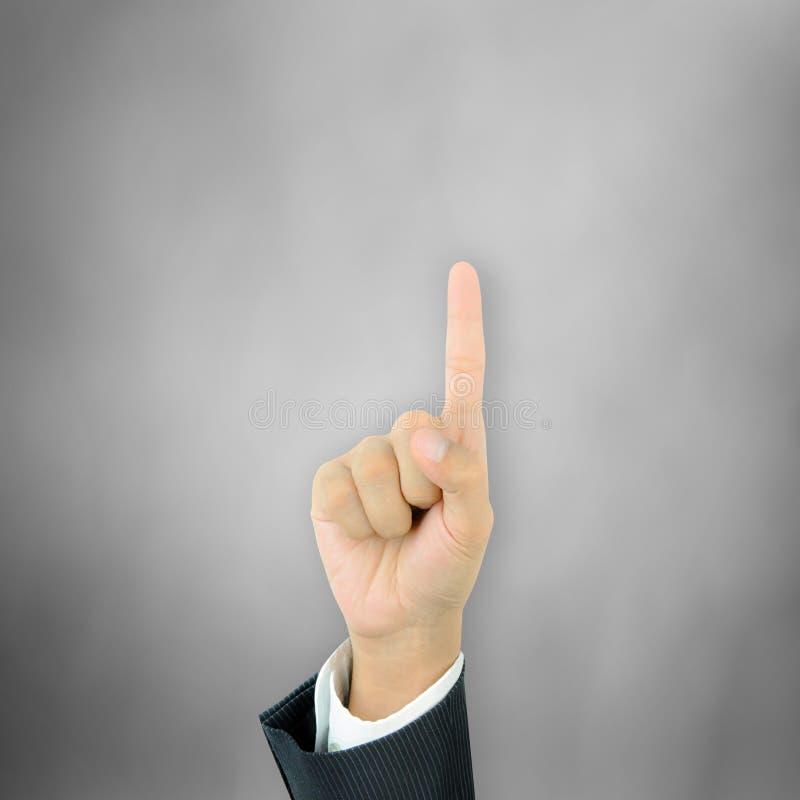 Рука указывая вверх с указательным пальцем стоковые фотографии rf