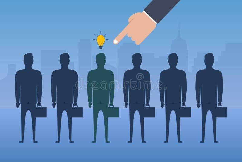 Рука указывая палец комплектует работника с идеей от группы в составе бизнесмены Концепция рекрутства Нанимать дела иллюстрация вектора