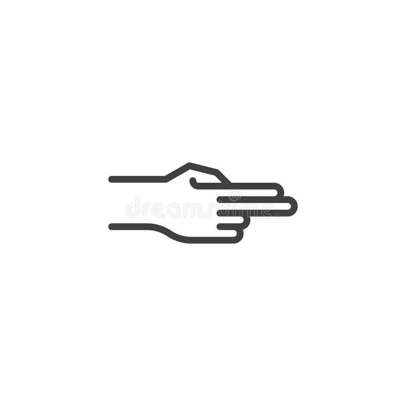 Рука указывая с линией значком 2 пальцев правой иллюстрация вектора