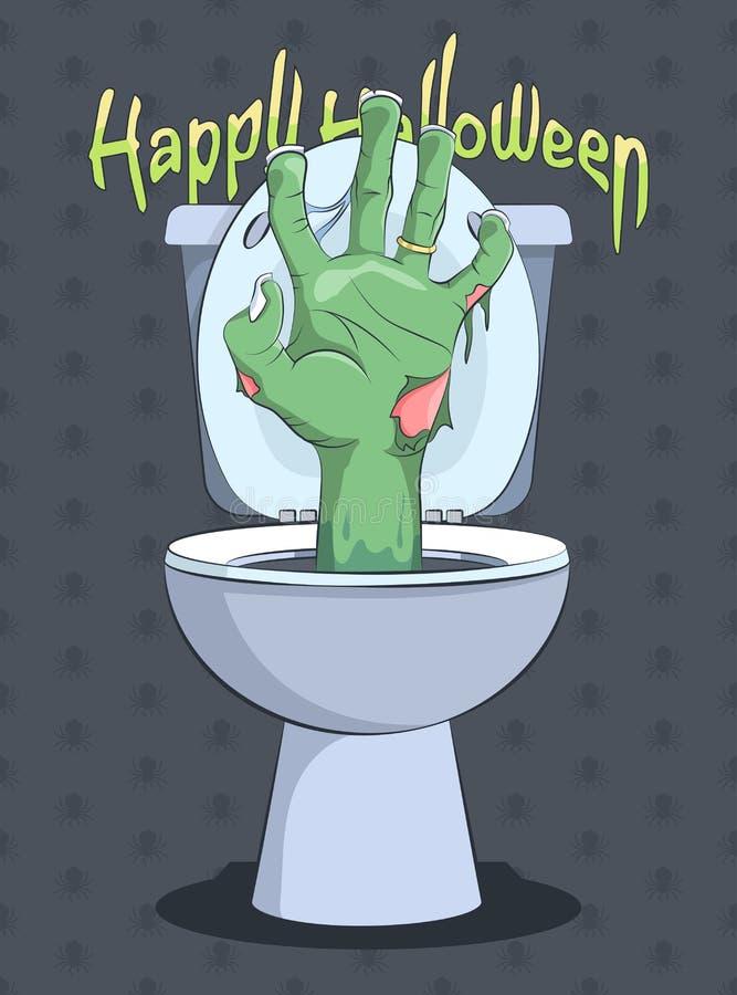 Рука хеллоуина и зомби от туалета со сливом иллюстрация штока