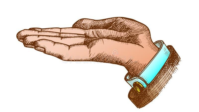 Рука цвета выведенная бизнесменом делает жестом винтажный вектор иллюстрация вектора