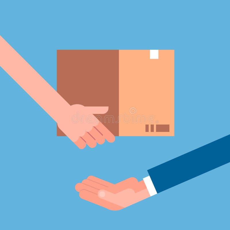 Рука человека давая пакет картона к другим Концепция доставки курьера поставки бесплатная иллюстрация