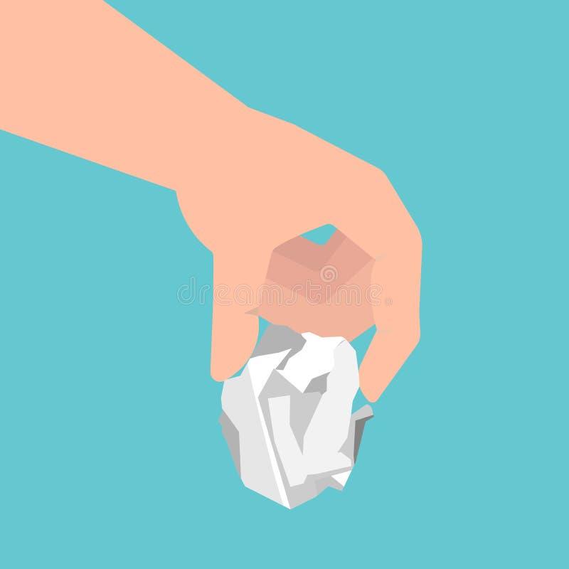 Рука человека держа скомканный бумажный лист также вектор иллюстрации притяжки corel бесплатная иллюстрация