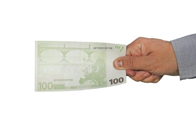 Рука человека держит 100 банкнот евро 100 евро стоковые изображения rf