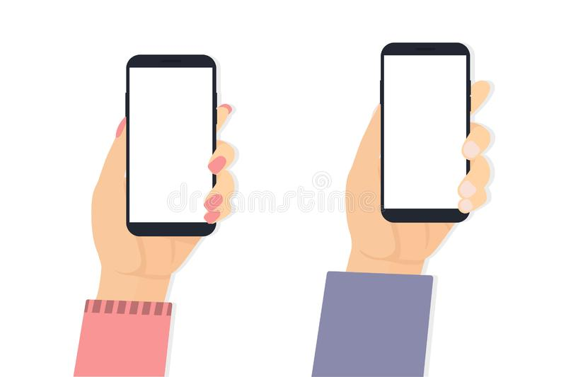 Рука человека и женщины с предпосылкой телефона белой иллюстрация штока