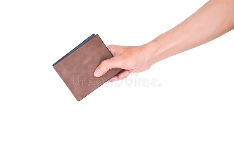 Рука человека раскрывает пустой бумажник изолированный на белой предпосылке с стоковое изображение