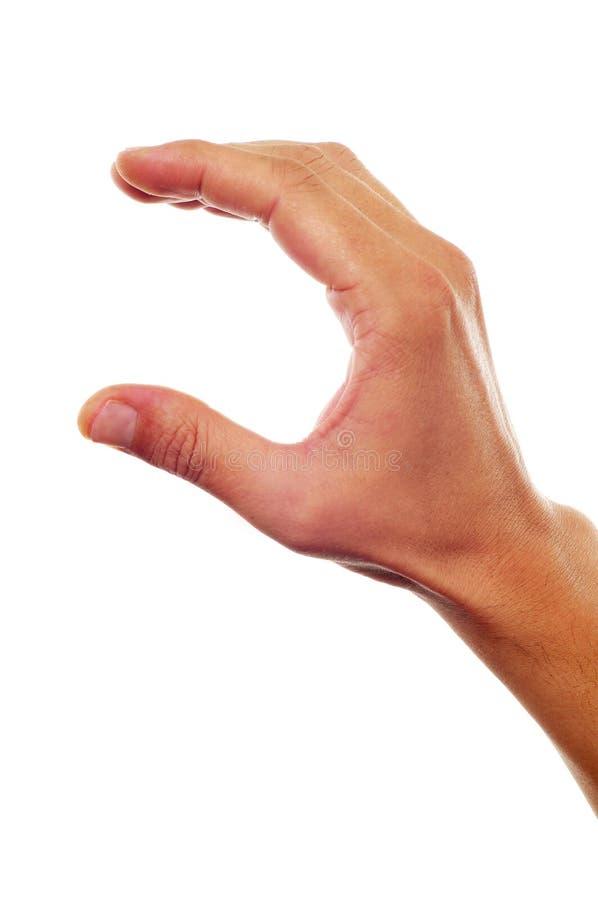 Рука человека показывая или держа что-то стоковые изображения rf