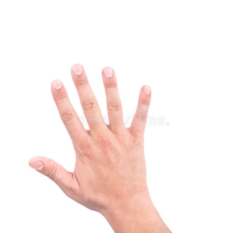 Рука человека показывая отсчет 5 стоковые изображения