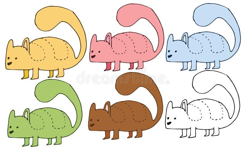 Рука чудовища набора цвета doodle скунса мультфильма печати рисует смешное иллюстрация вектора