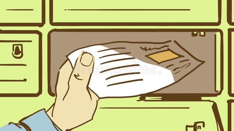 Рука шаржа принимает вне письмо от почтового ящика общины иллюстрация вектора