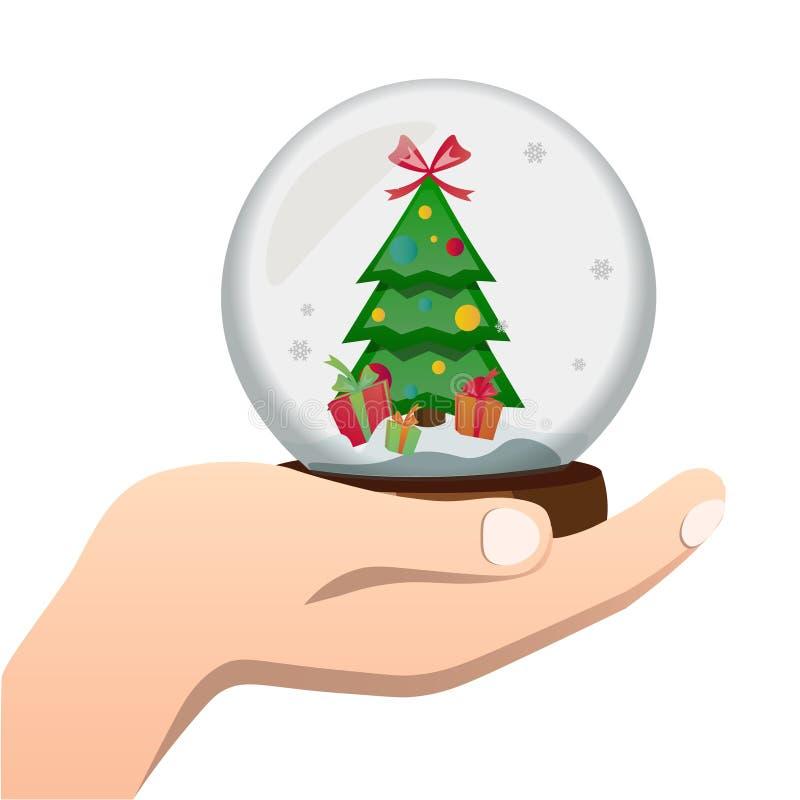 рука шарика стеклянная держит зиму иллюстрация вектора