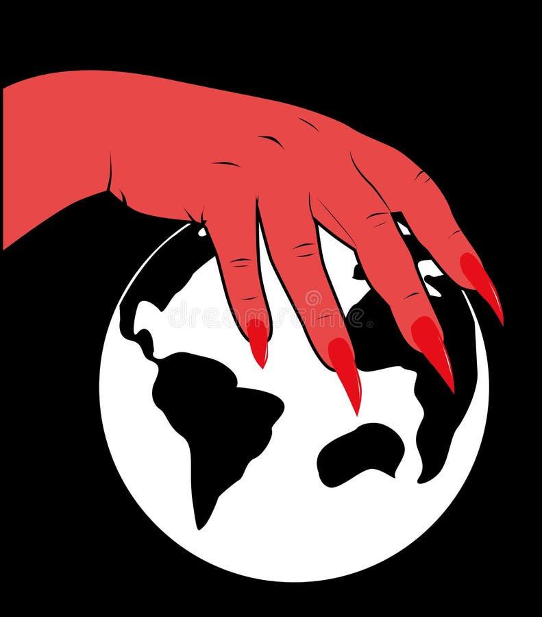 Download Рука дьявола над планетой иллюстрация вектора. иллюстрации насчитывающей зло - 33731589
