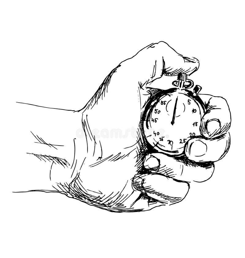 Рука эскиза с секундомером бесплатная иллюстрация
