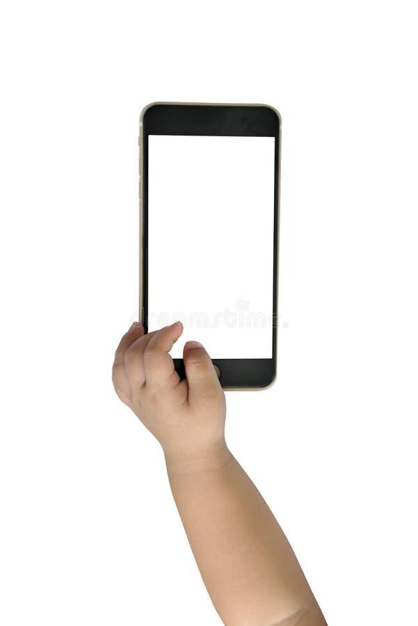 Рука Baby's с smartphone стоковая фотография