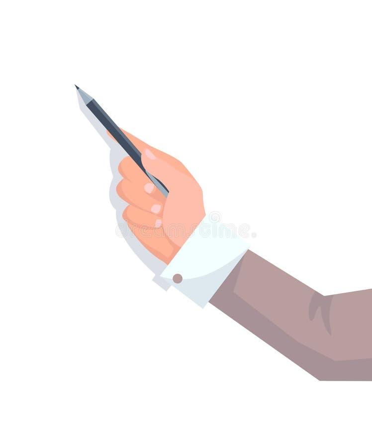 Рука Businessmans с рукавом куртки держит карандаш иллюстрация штока