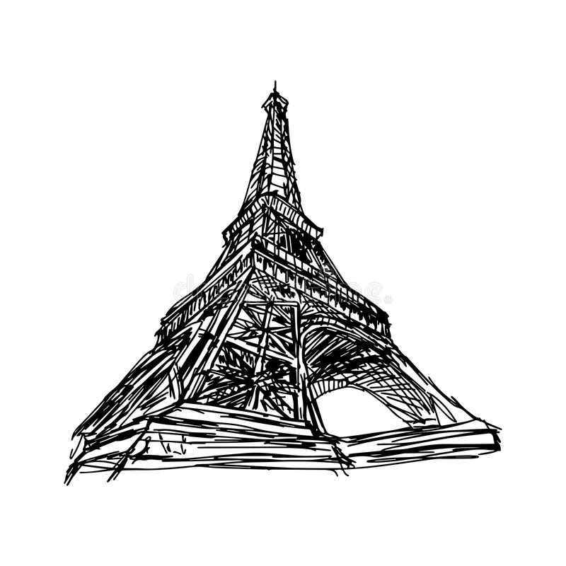 Рука doodle вектора иллюстрации нарисованная Эйфелевой башни Парижа эскиза бесплатная иллюстрация