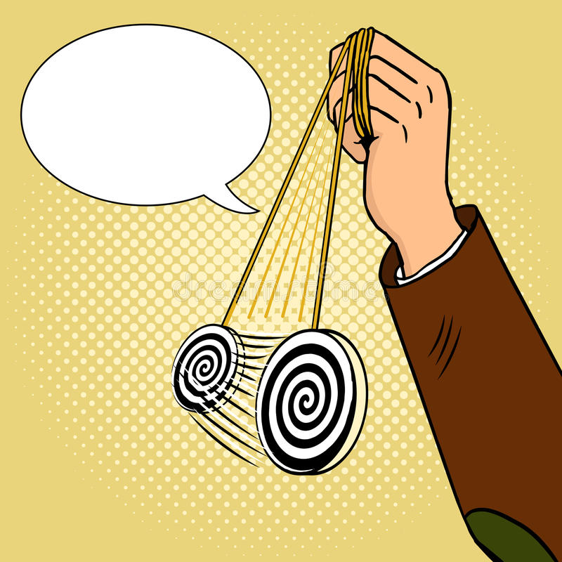 Рука hypnotist с вектором искусства шипучки маятника бесплатная иллюстрация