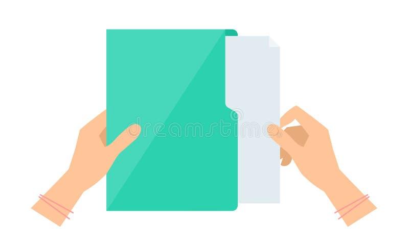 Рука ` s бизнес-леди принимает вне документ от зеленой папки иллюстрация вектора