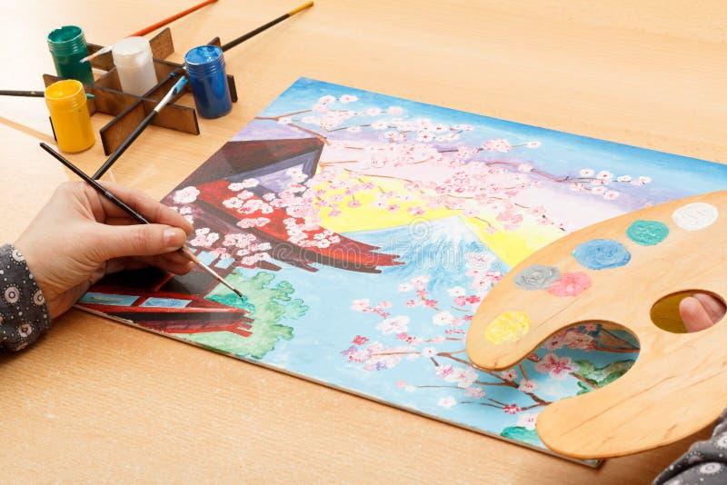 Рука ` s женщины крася живописного японца благоустраивает внутри помещения стоковое фото rf