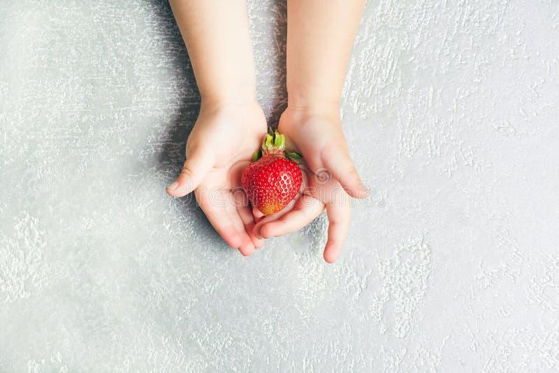 Рука ` s ребенка держа клубнику на белой предпосылке, плите клубник еда принципиальной схемы здоровая Взгляд сверху, плоское поло стоковое фото rf