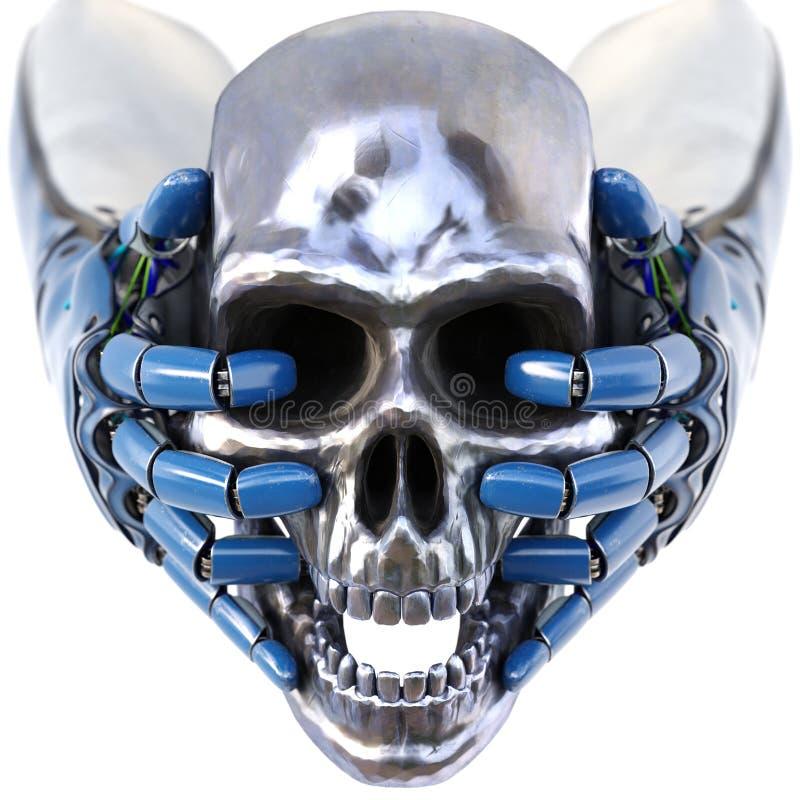 Рука ` s робота держит череп человека металла иллюстрация штока
