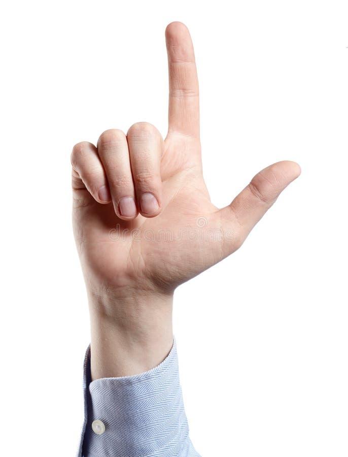 Рука ` s человека изолированная на белизне индекс перста вверх стоковые изображения rf