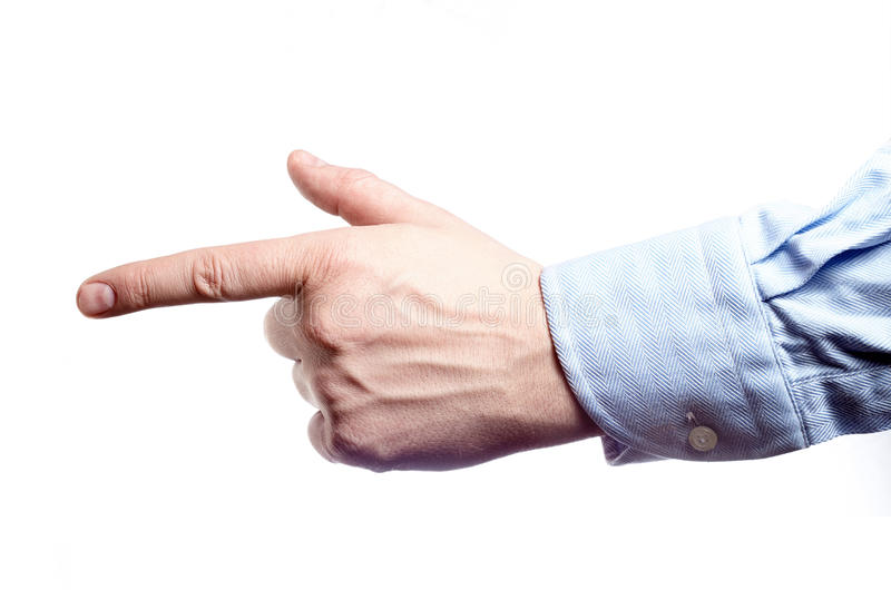 Рука ` s человека изолированная на белизне Указательный палец вперед стоковая фотография rf