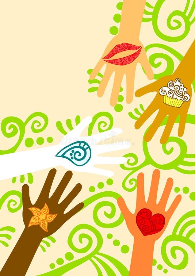 Руки давая поздравительную открытку помощи бесплатная иллюстрация