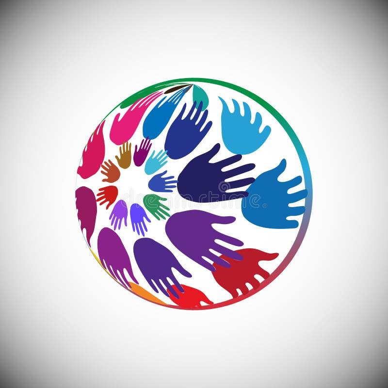 Руки аранжированные в глобусе формируют, концепция добровольной поддержки, призрение, пропаганда и единство иллюстрация вектора