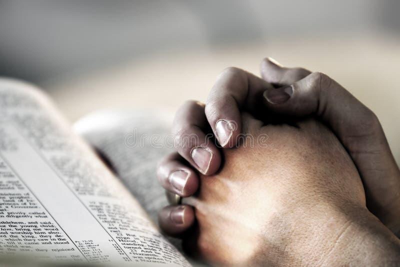 руки библии моля стоковые фото