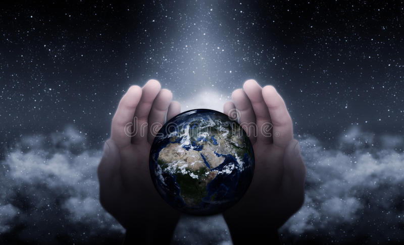 Руки бога на земле иллюстрация вектора