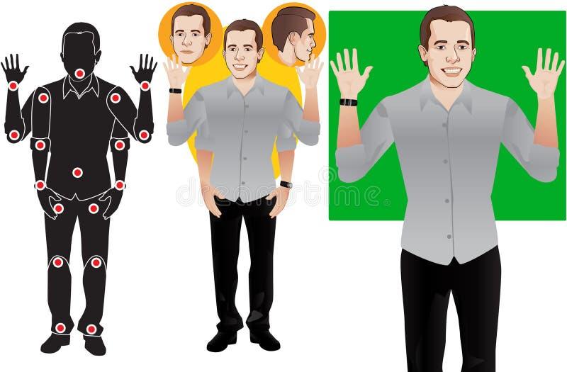 Руки ВВЕРХ, векторы готовые к анимации, персонажу из мультфильма молодого человека • в официально голубой рубашке, кукле вектор стоковые изображения