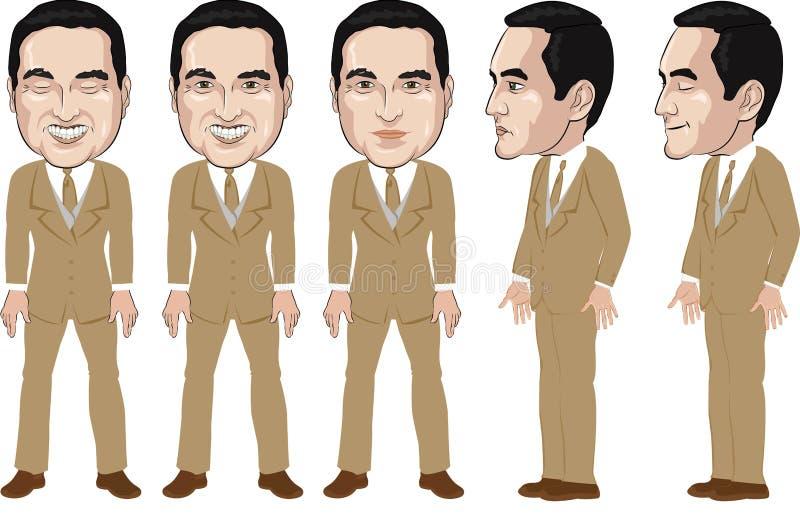 Руки ВВЕРХ, векторы готовые к анимации, персонажу из мультфильма молодого человека • в официально голубой рубашке, кукле вектор стоковая фотография
