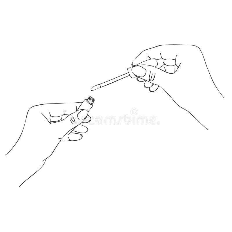 Руки вектора с трубкой лоска губы бесплатная иллюстрация