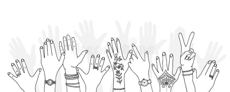 Руки руки вычерченные подняли вверх бесплатная иллюстрация