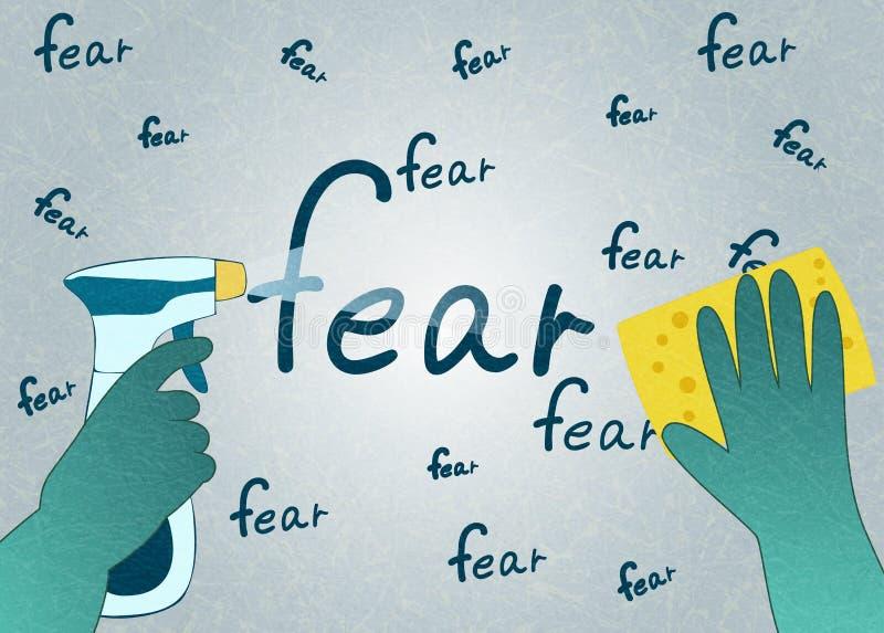 Руки в зеленых перчатках с губкой и брызгами стирают страх слова, плоский вектор с шумом и текстуру иллюстрация вектора