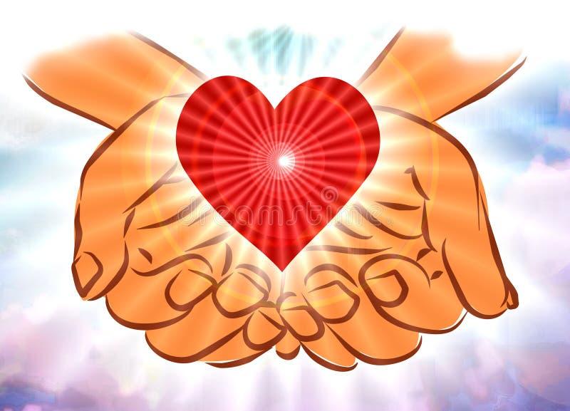 Руки в облаках держа сердце иллюстрация штока