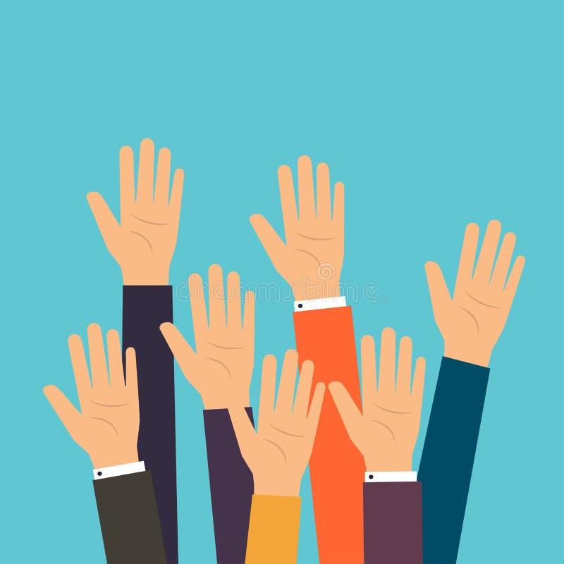 Руки голосования людей Поднятый вызываться добровольцем рук Плоский дизайн современный иллюстрация вектора