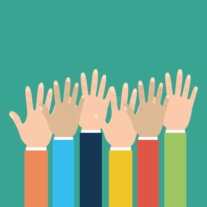 Руки группы человеческие подняли multiracial иллюстрация штока