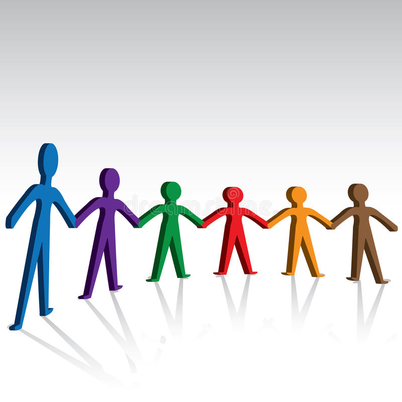 Руки группы людей соединяя совместно иллюстрация штока