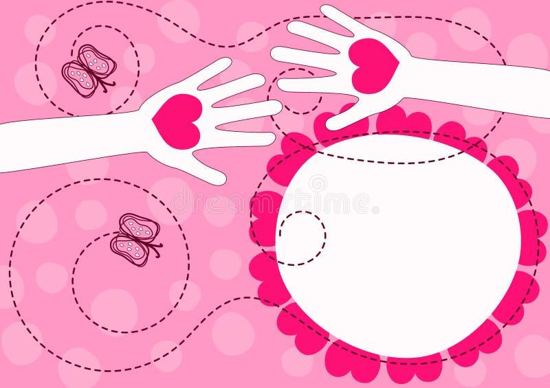 Руки давая карточку дня валентинок сердец иллюстрация штока